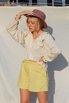 medium ruffle textured puff sleeve blouse
