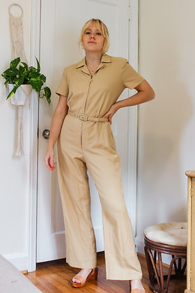 S/M tan flared disco jumpsuit
