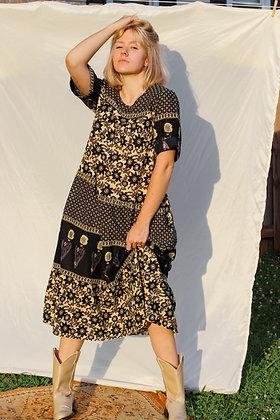 s/m boho pattern tiered midi dress