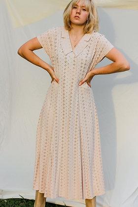 s/m creamy eyelet collared midi dress