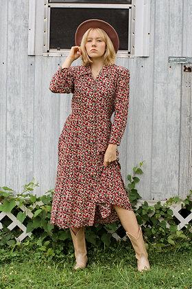 L-XL floral collared midi dress