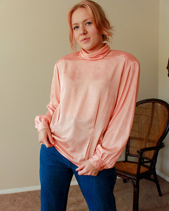 M/L pink ladies silk top