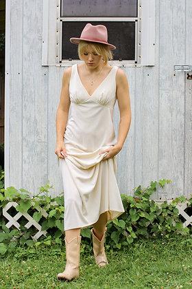 small white column maxi dress