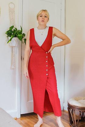 Medium button front pinafore dress