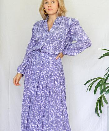 XL lavender funky pattern pleat dress