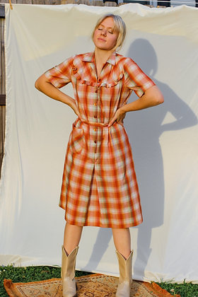 small orange plaid ruffled dress
