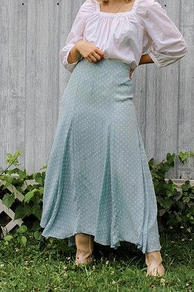 medium silk blue polka dot maxi skirt