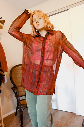 Large Plaid You're Here Blouse