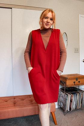 Large red pinafore dress