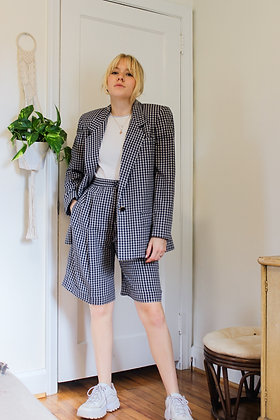 Small checked blazer + shorts set