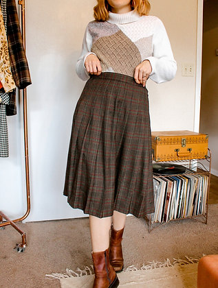 XL 90s pleated plaid skirt