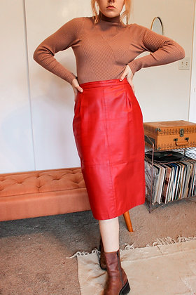Small 50's red leather skirt