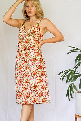 M/L floral midi garden party dress