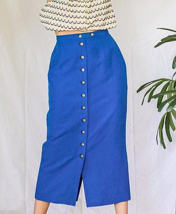 Small silk linen blend blue maxi skirt