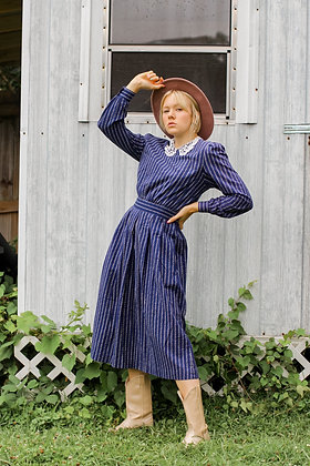 Small navy floral lace collar prairie dress