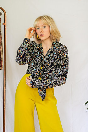 large ditsy dot retro print button up blouse