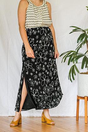 S/M black and white floral side slit maxi skirt