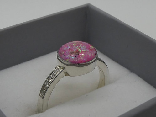 Sterling Silver 8mm Resin Ring with Diamantes