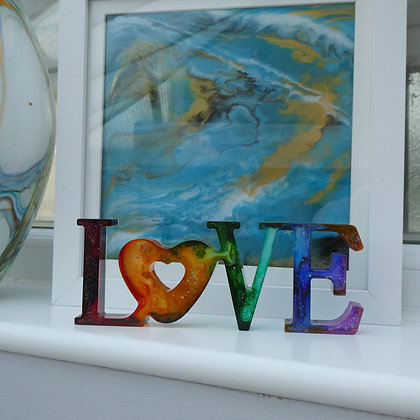 """LOVE"" resin sign"