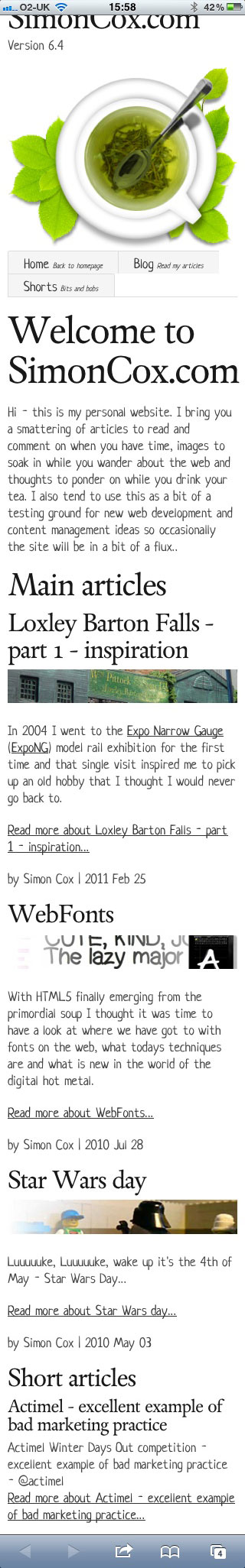 Responsive Web Design iphone screen shot of simoncox.com