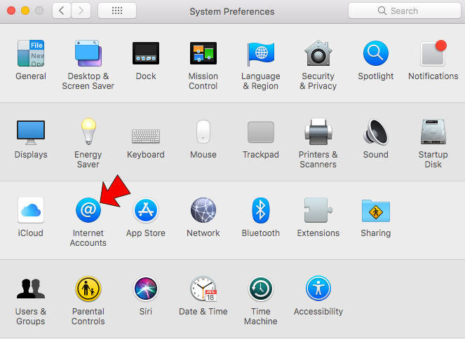 Apple system preferences - Internet accounts
