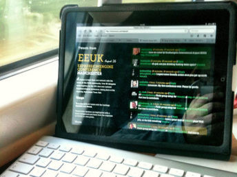 On the train on the way to EEUK11 by - Thu, August 25, 2011: Updating the EEUK11 'Tweets From' page using my ipad and bluetooth keyboard