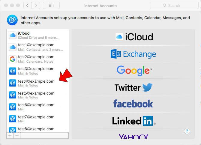 Apple system preferences - Internet accounts
