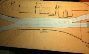 White Sans Quay track planning on pink foam