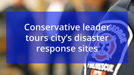 Conservative leader tours city's disaster response sites