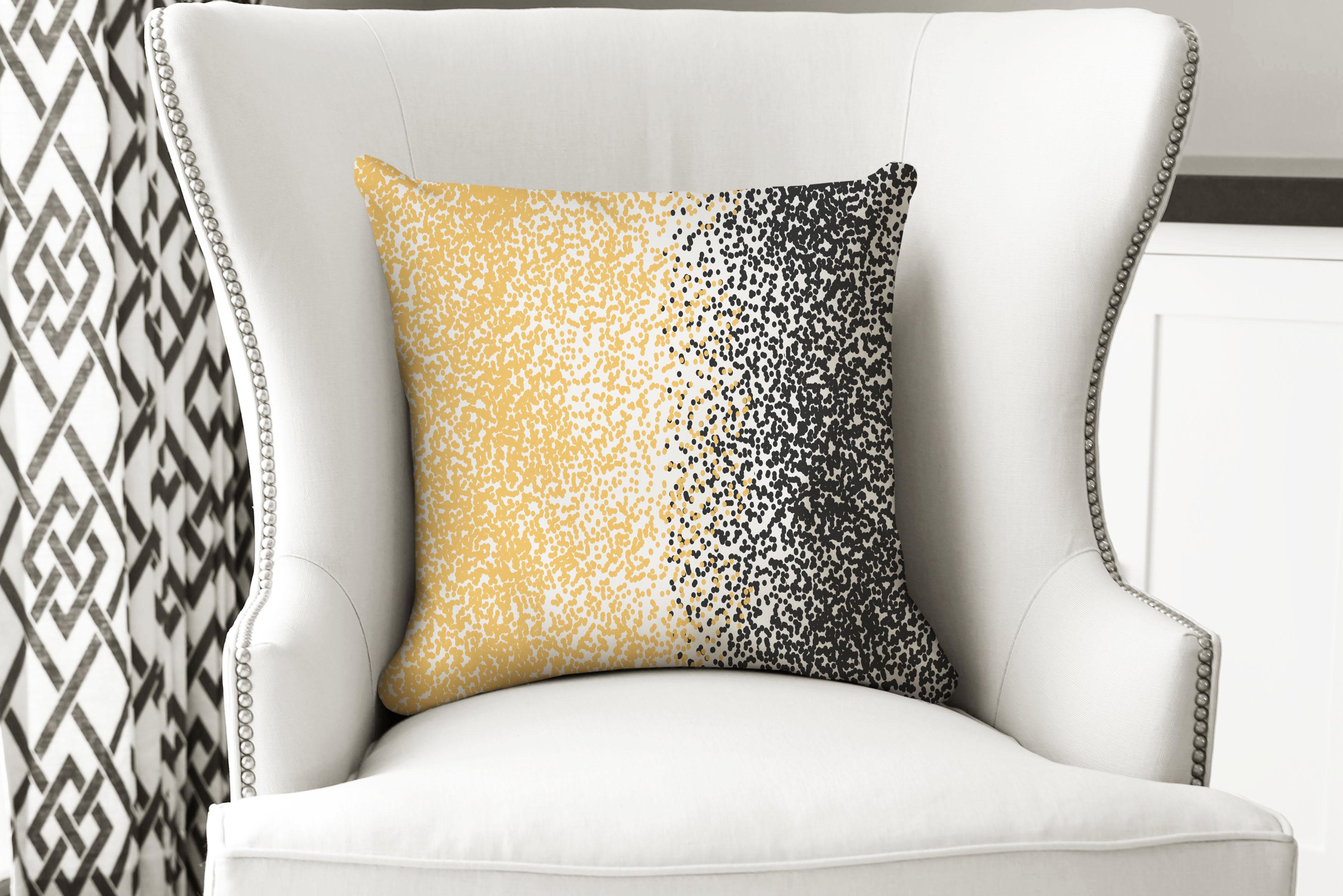 single pillow black yellow dot