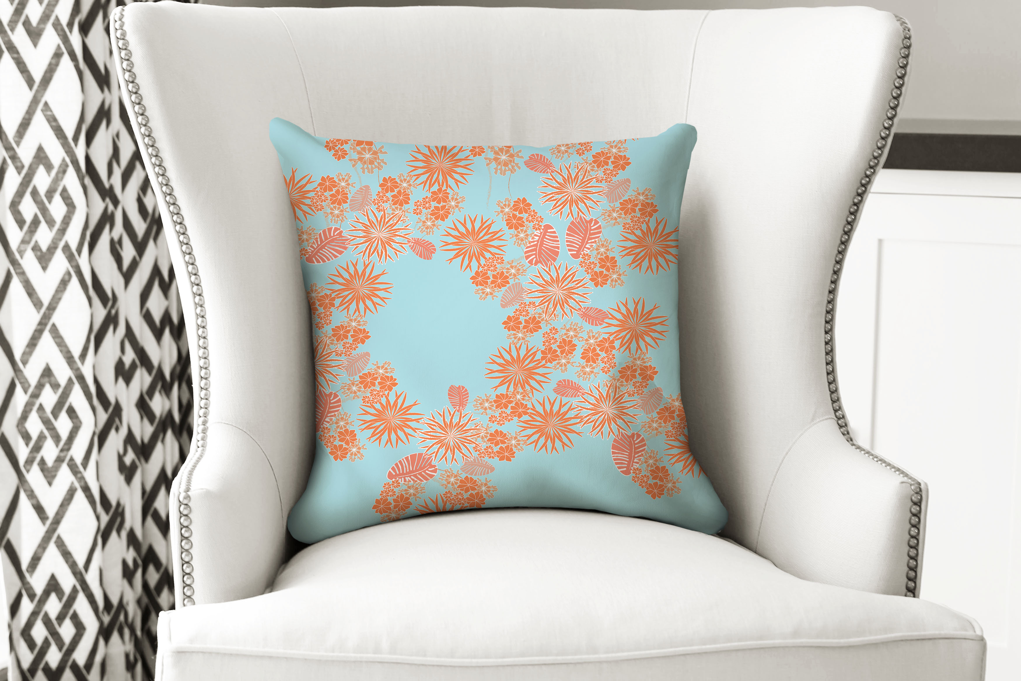 single pillow flower orange