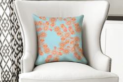 single pillow flower orange
