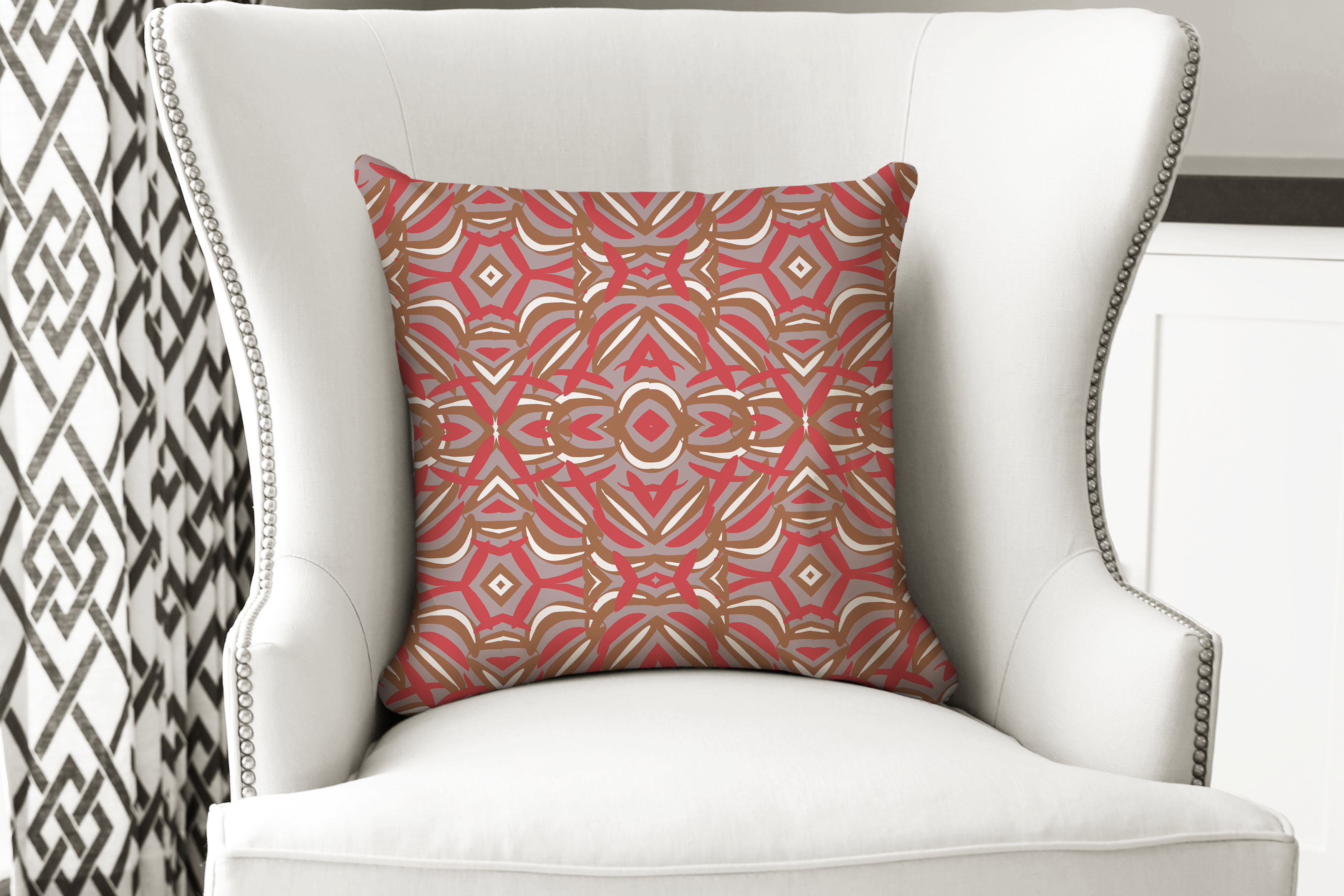 single pillow tribal red