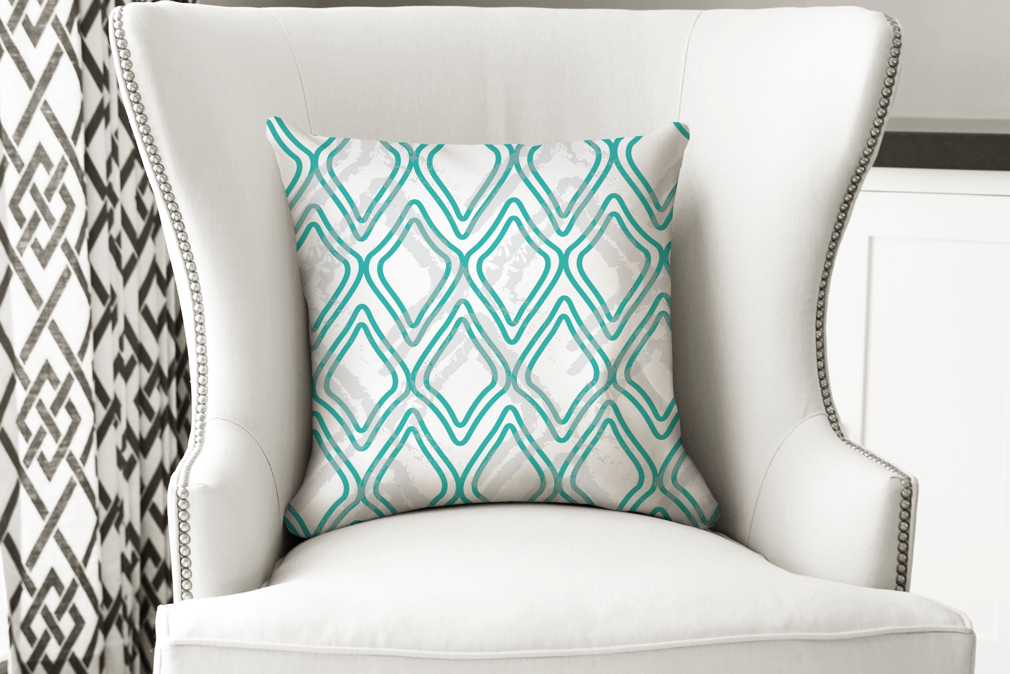 single pillow  geo green tri