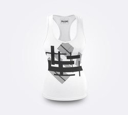 Front View Swim Black White label tank white trim