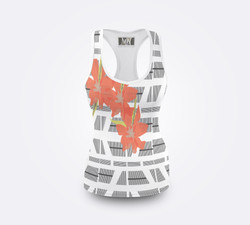 Front View Swim black white flower tank tri, white
