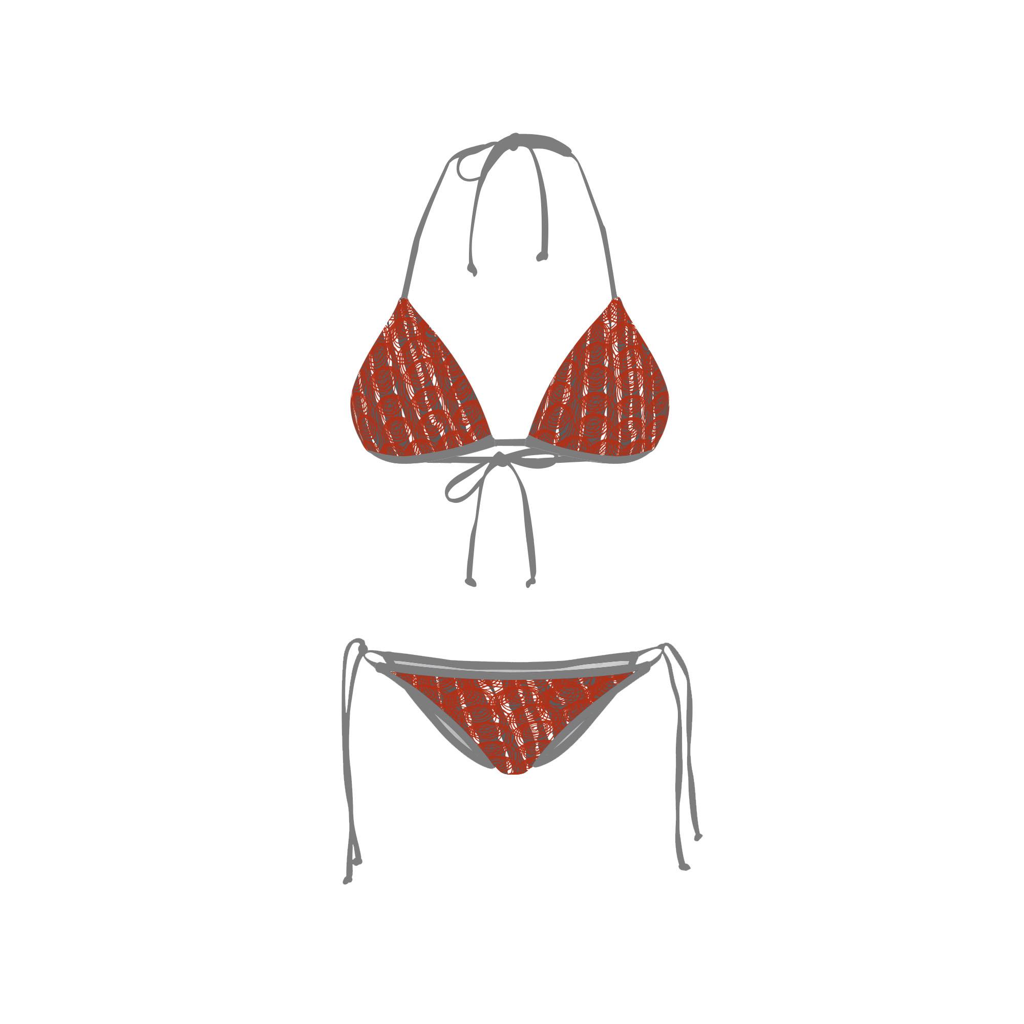 Bikini Front Retro Red Circle Grey
