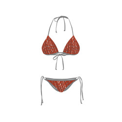 Bikini Front Retro Red Circle Grey
