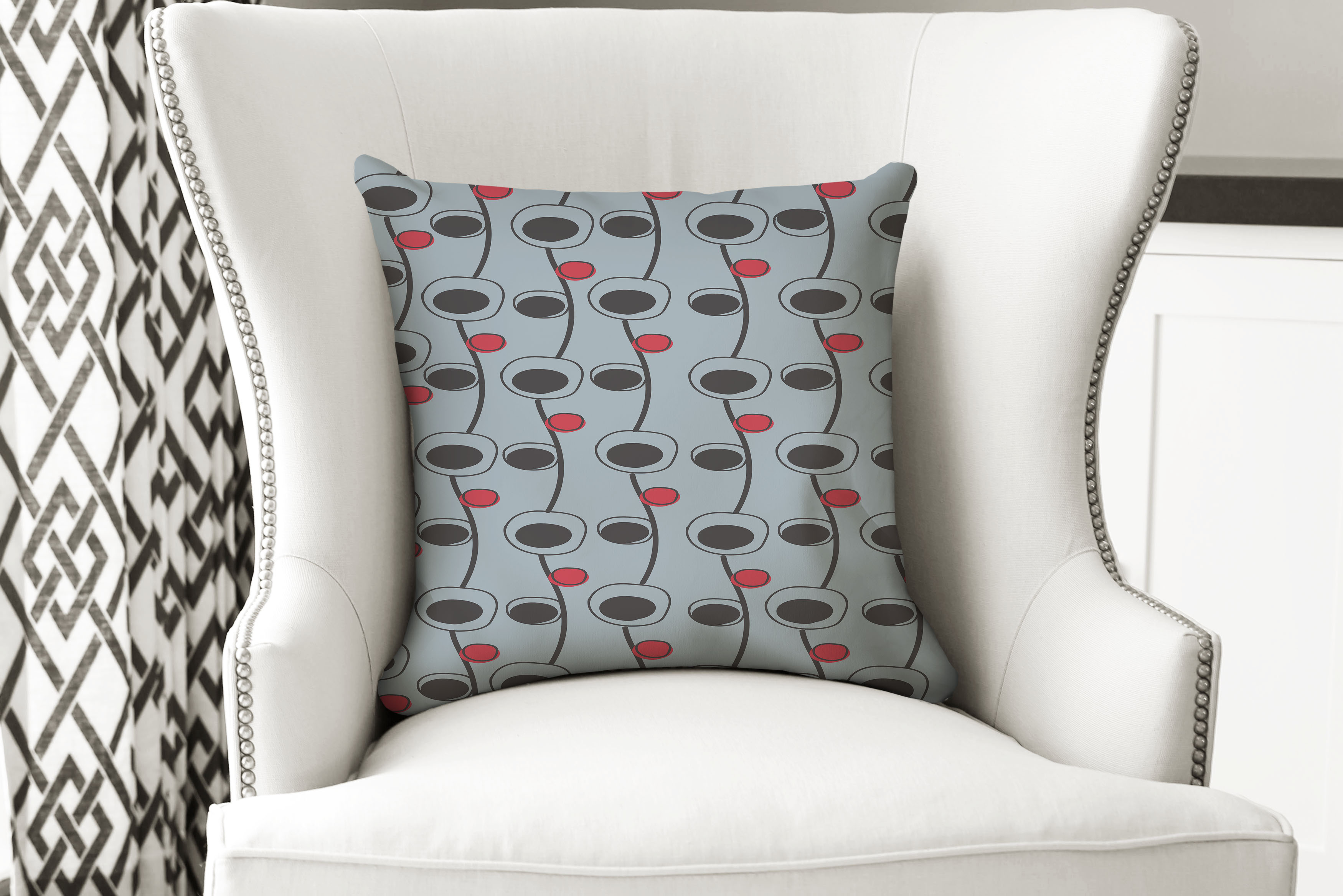 single pillow mid cent red dot