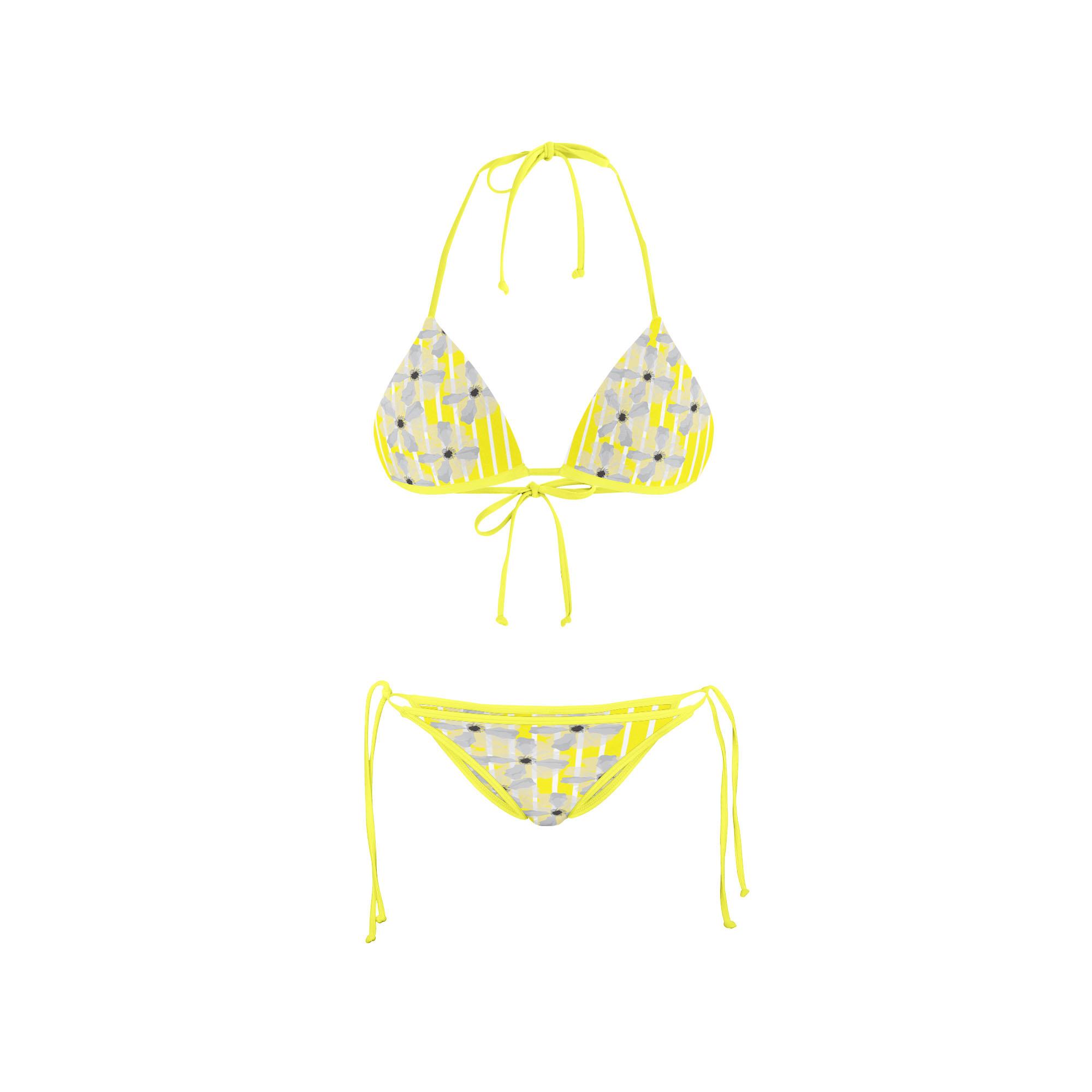 Bikini Front yellow stripe floral