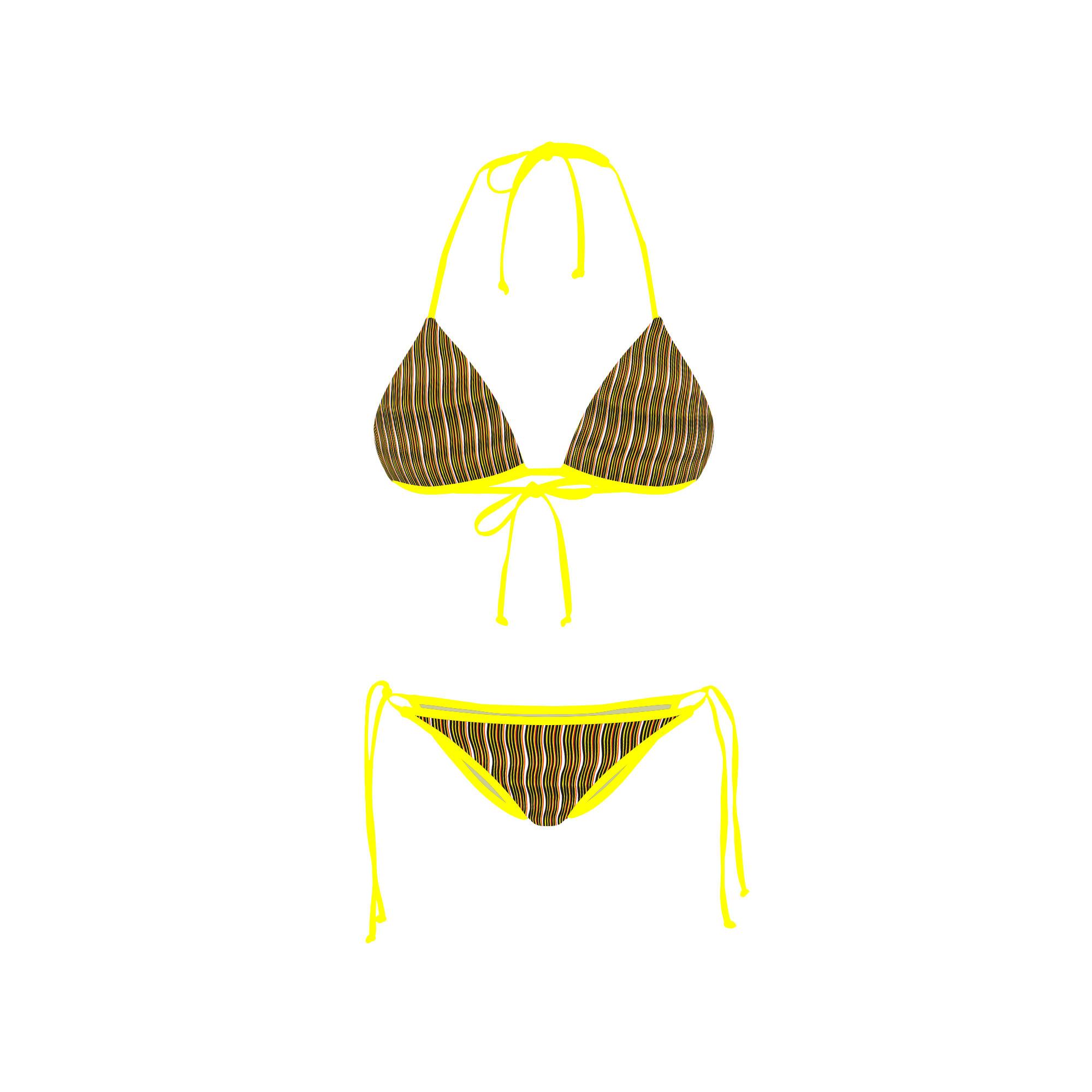 Bikini Front Retro Red Yellow Stripe
