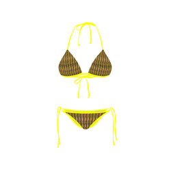 Bikini Front Retro Red Yellow Stripe