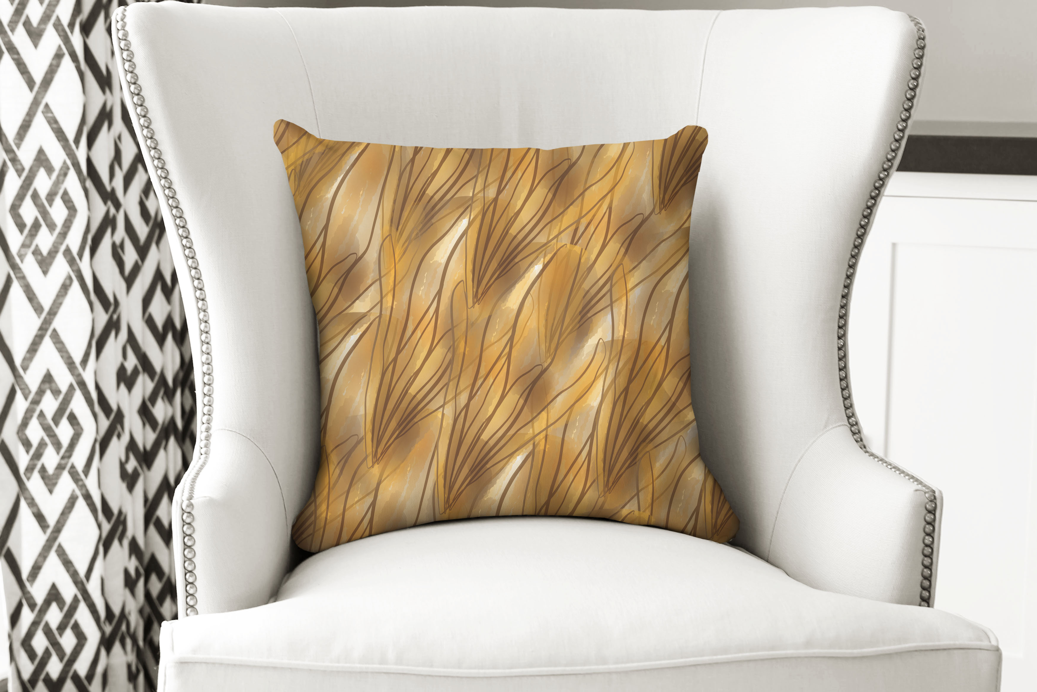 single pillow gold petals