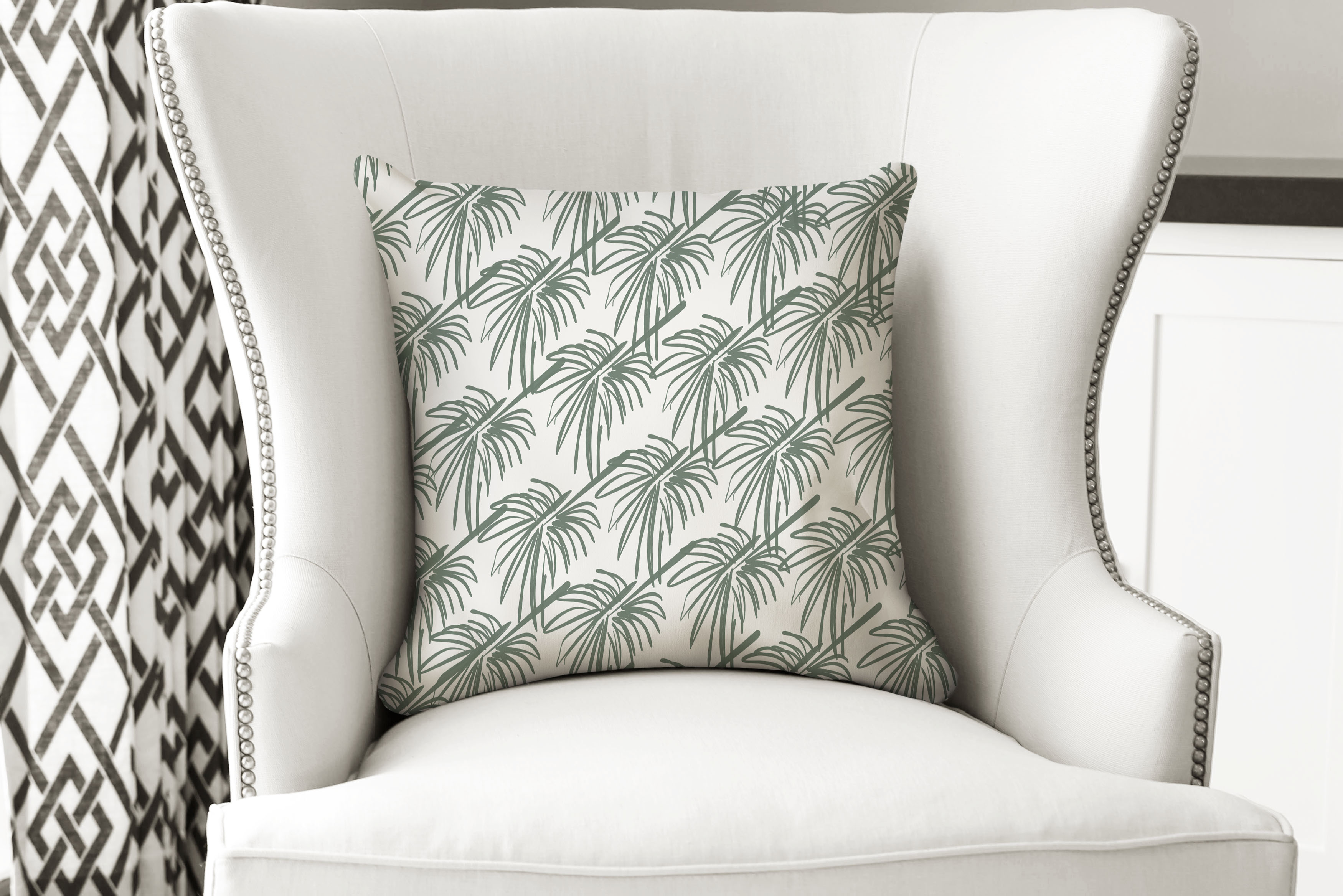 single pillow green palm