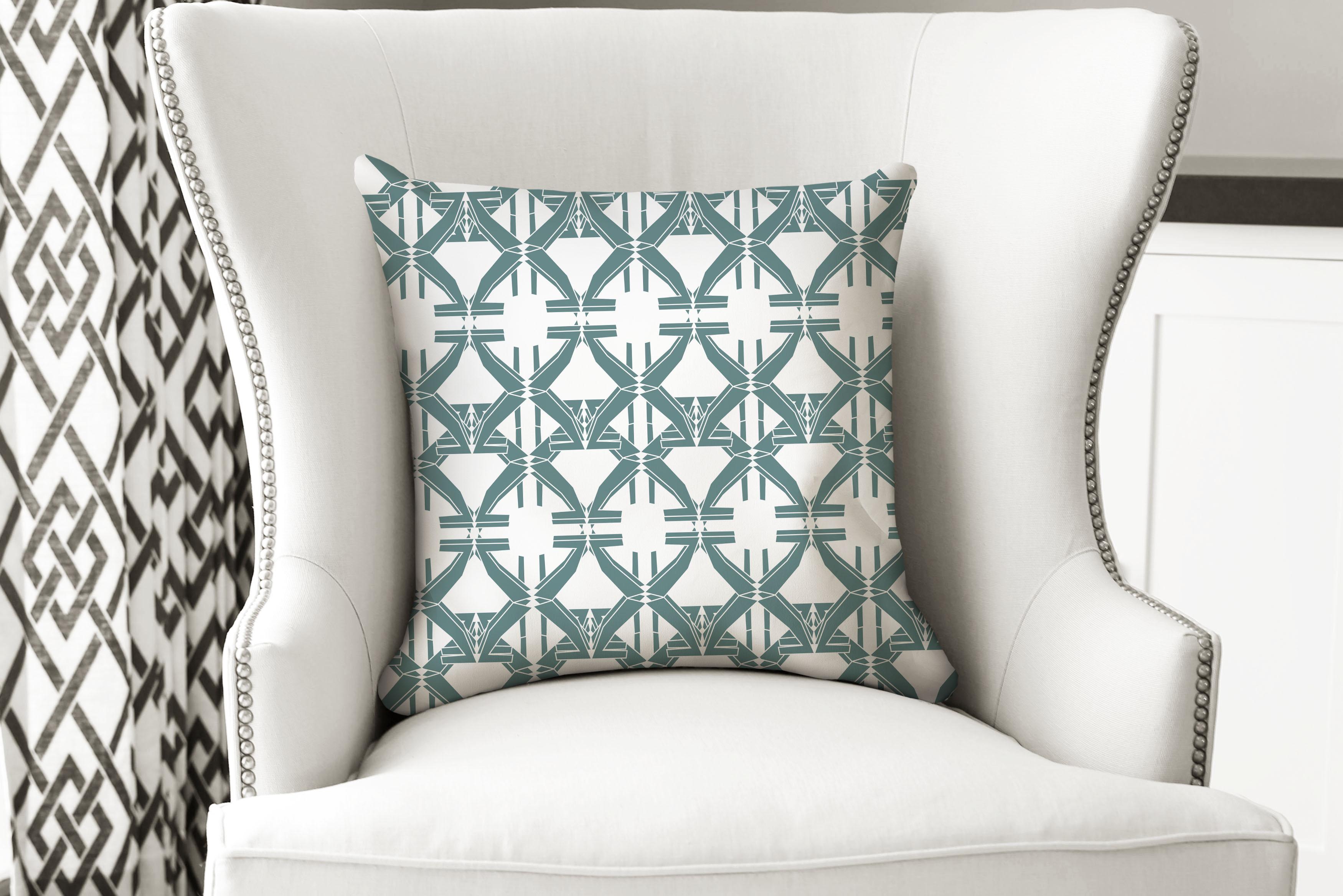 single pillow mod geo green
