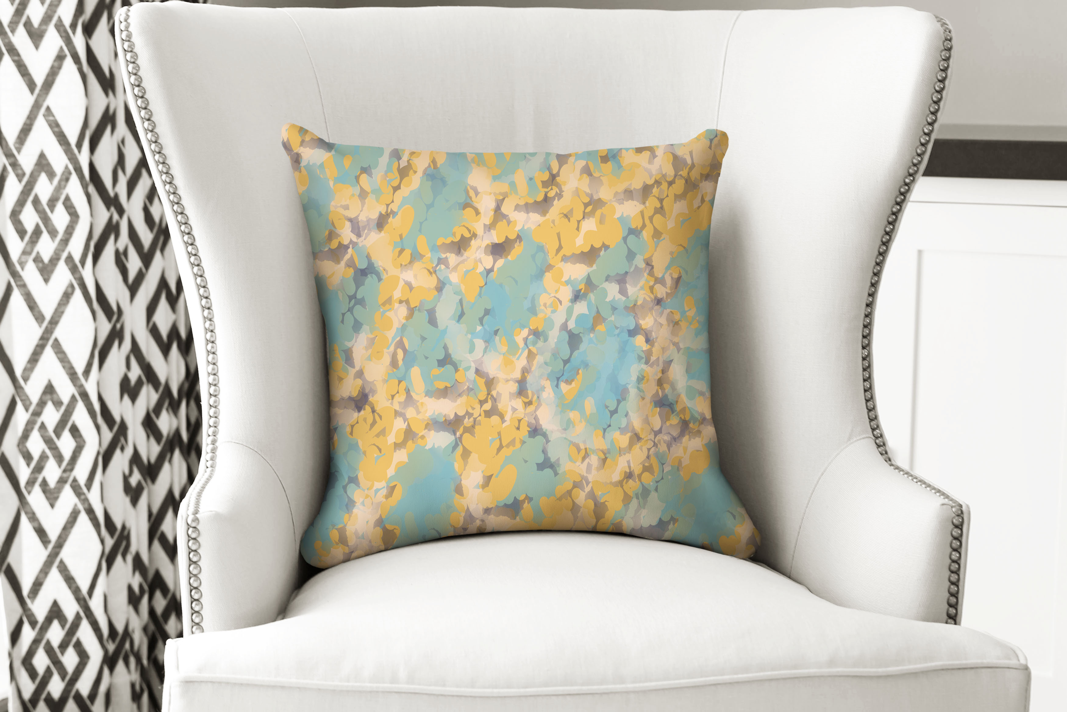 single pillow abstract yellow geo