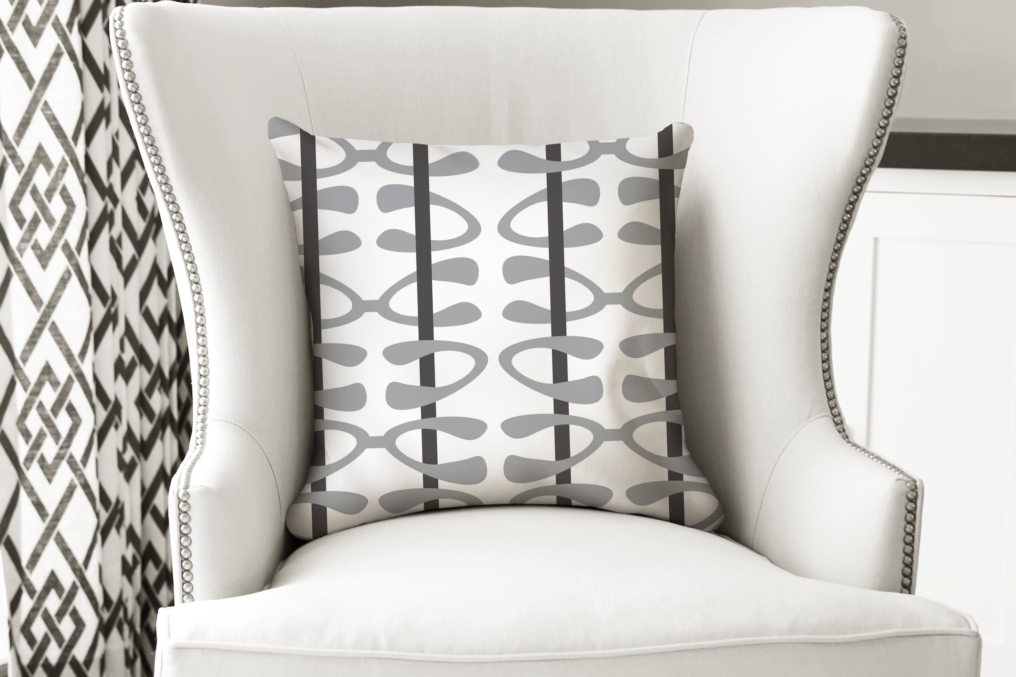 single pillow abstract white geo