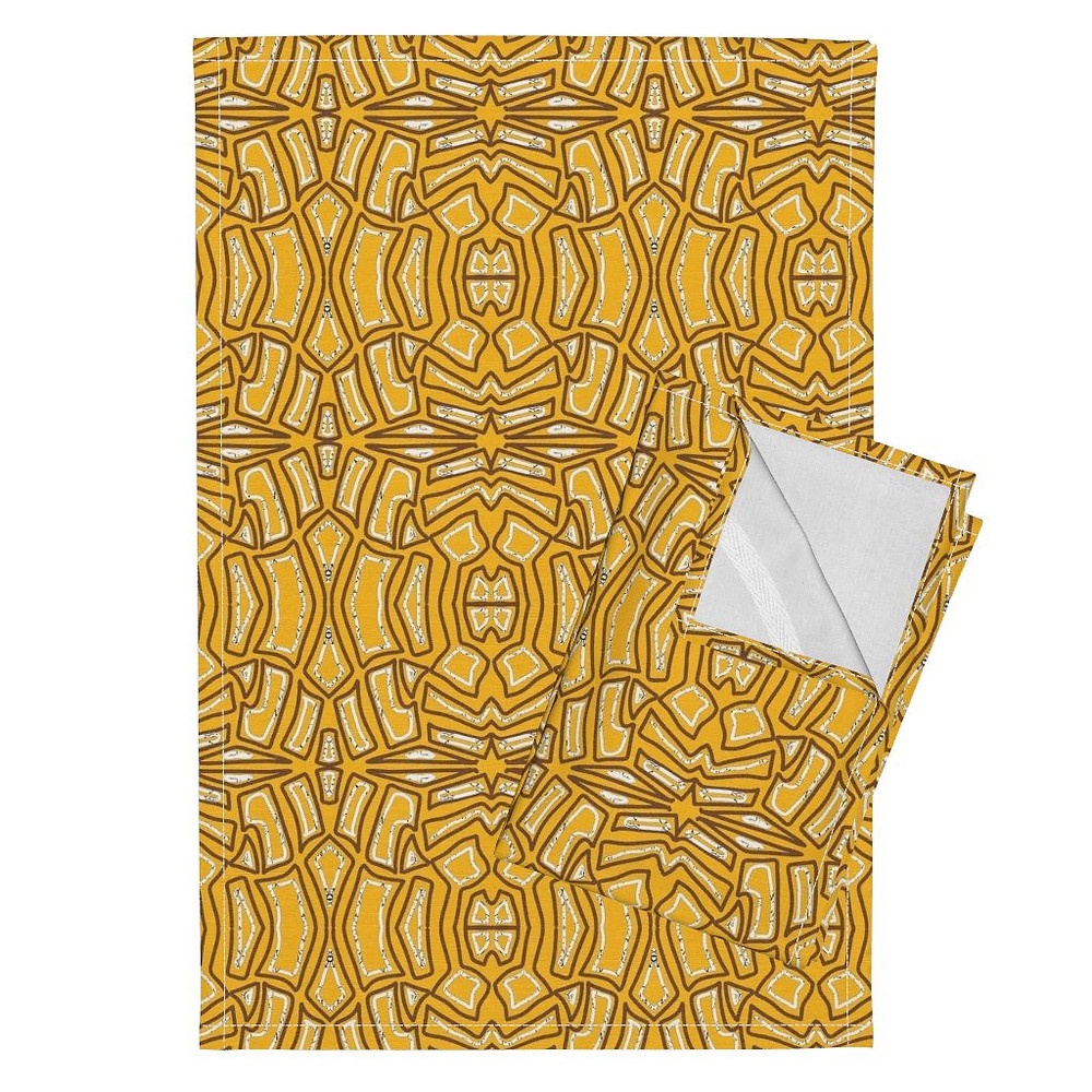 """Tribal Gold"" Wallpaper available at Roostery.com/mlw_marylouwatsondesign in July 2017"
