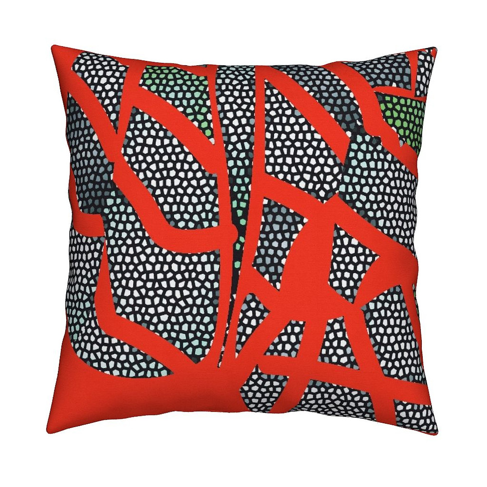 """Crackle Red"" Pillows and Accessories available at Roostery.com/mlw_marylouwatsondesign in July 2017"