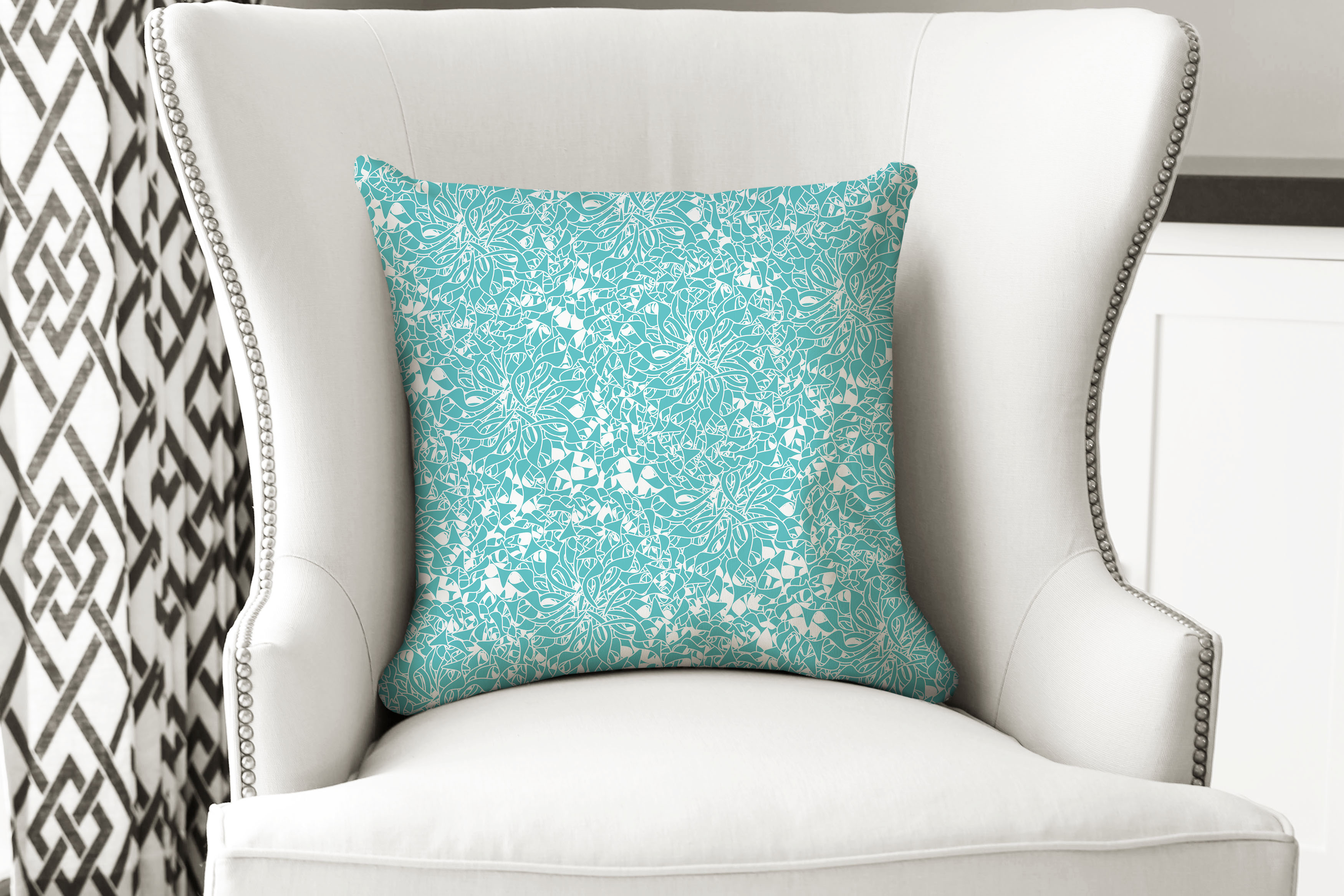 single pillow lt blue swirl petal